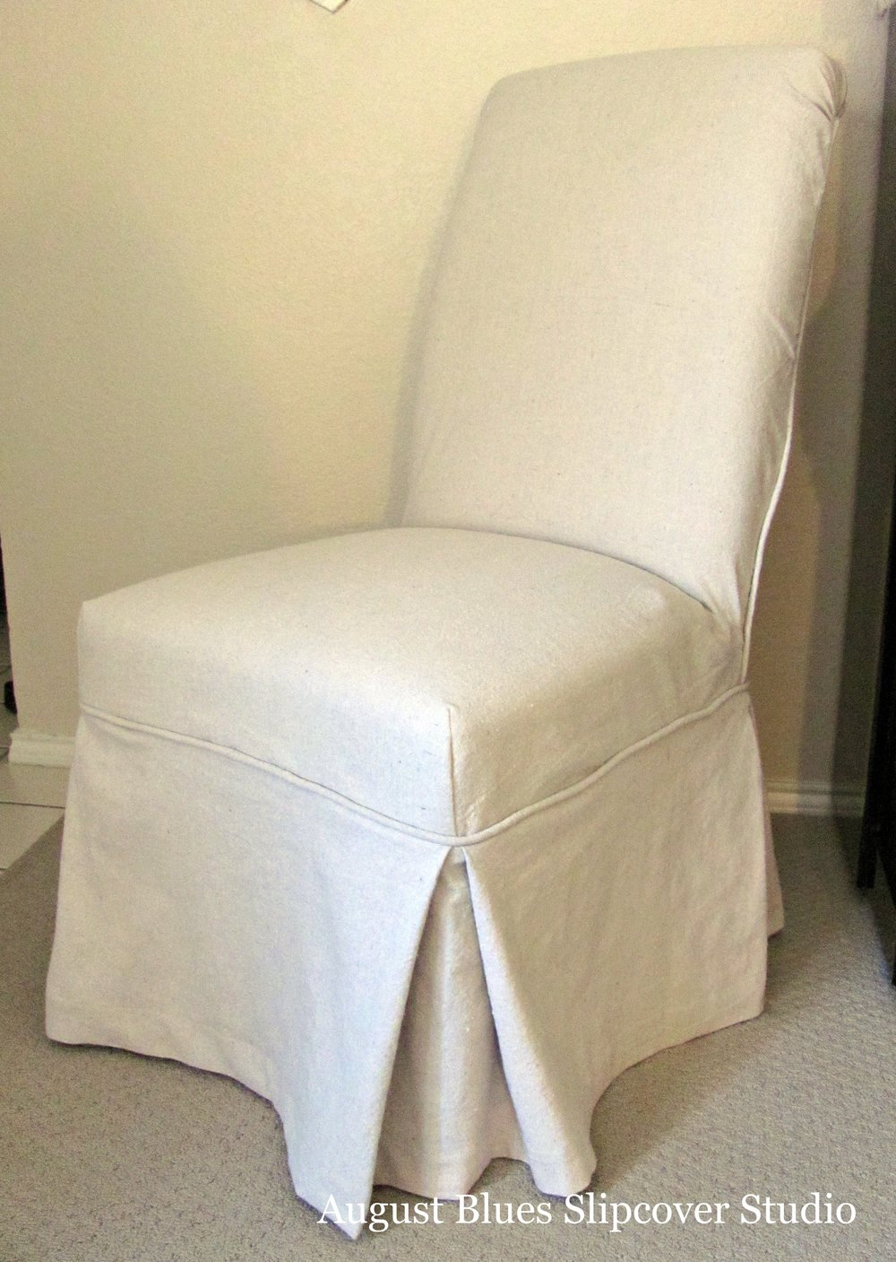 August Blues - Parson's chair in dropcloth