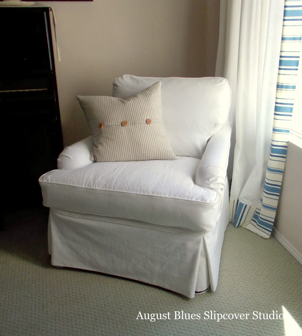 August Blues - White Club Chair After Corner View