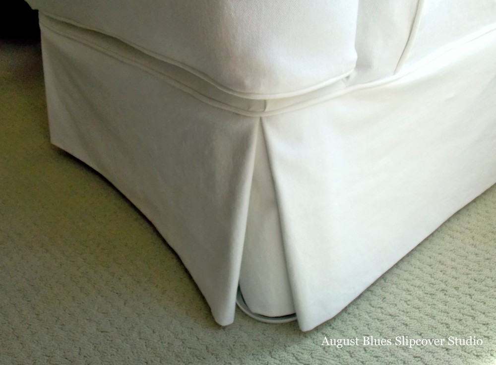 August Blues - White Club Chair After Front Skirt Pleat