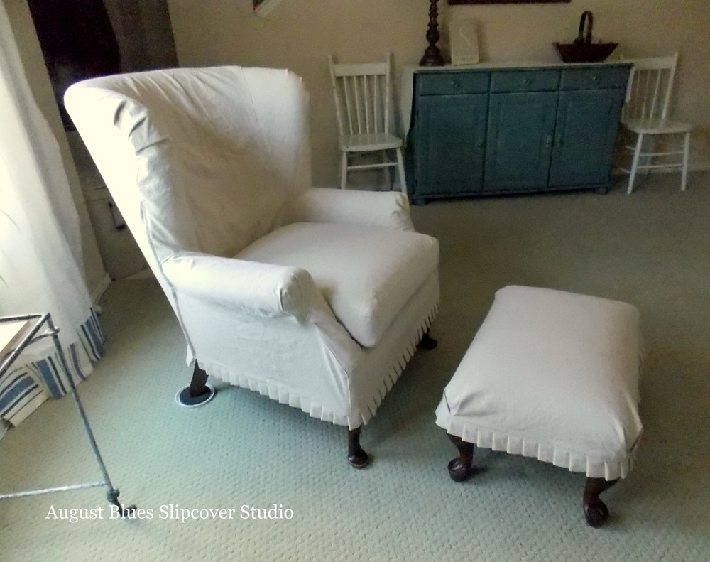 August Blues - Dropcloth Wing Chair and Ottoman
