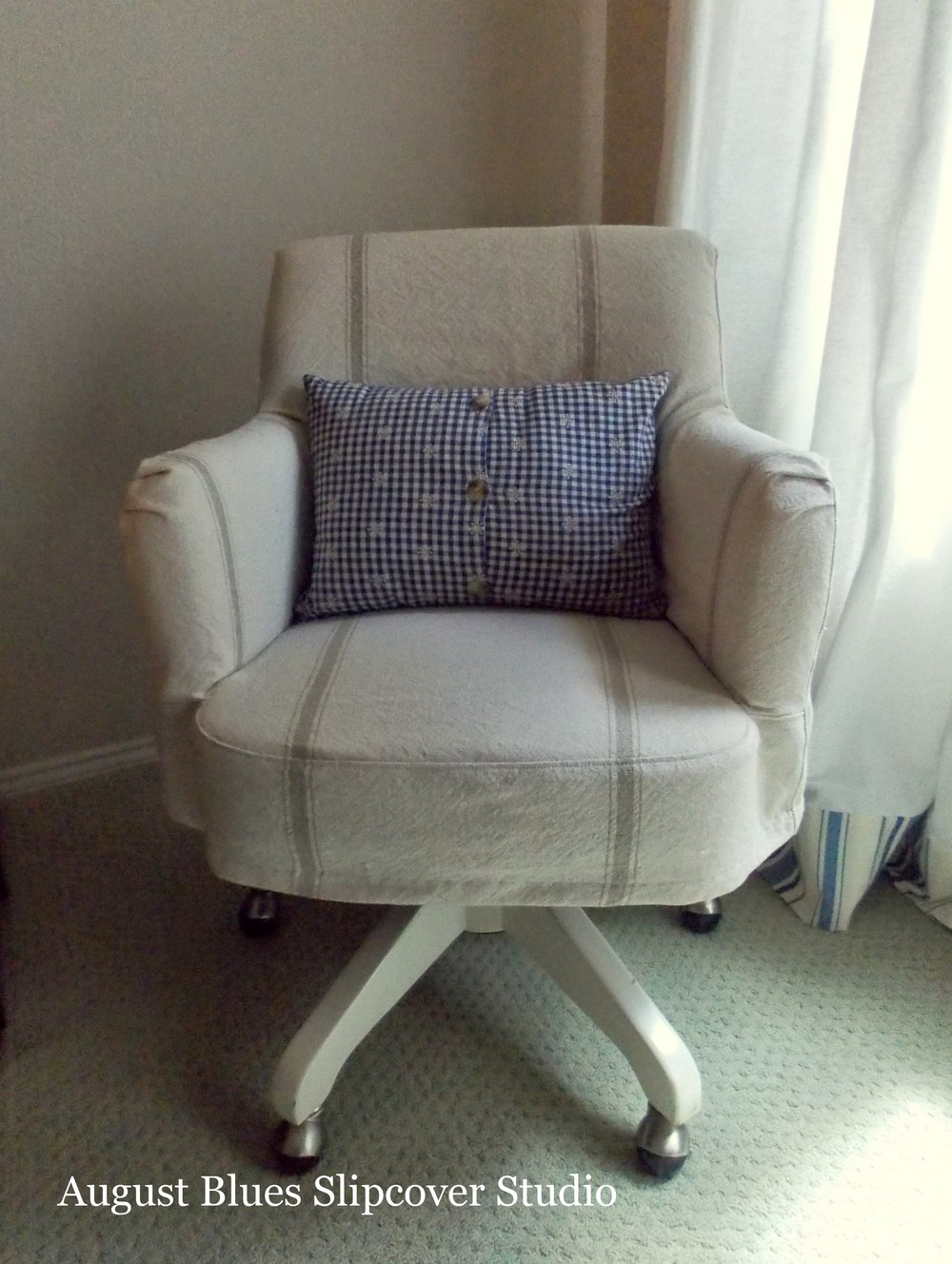 August Blues - Desk Chair with grain sack slipcover