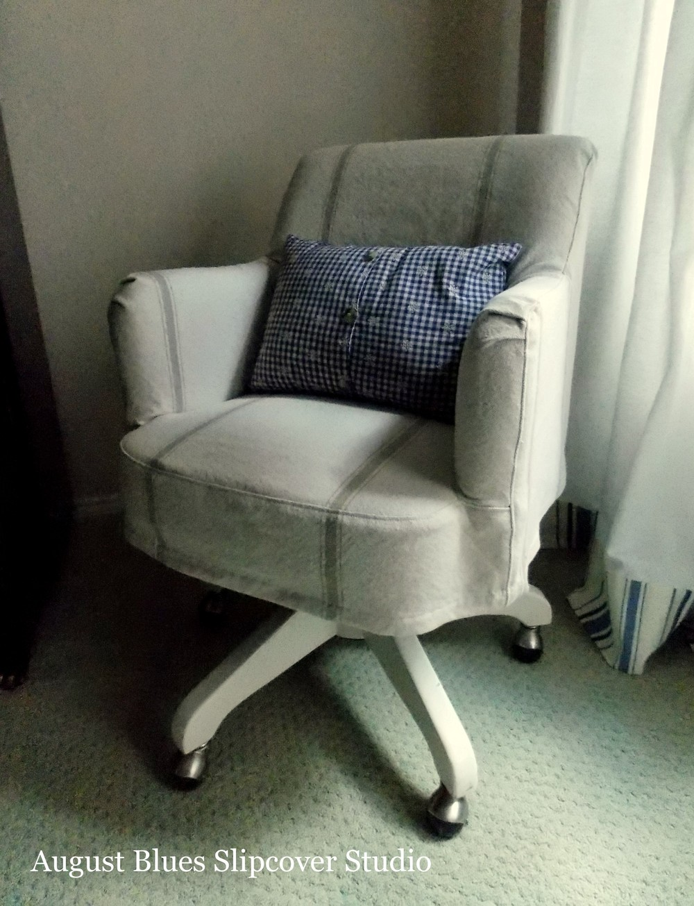 August Blues - desk chair grain sack slipcover