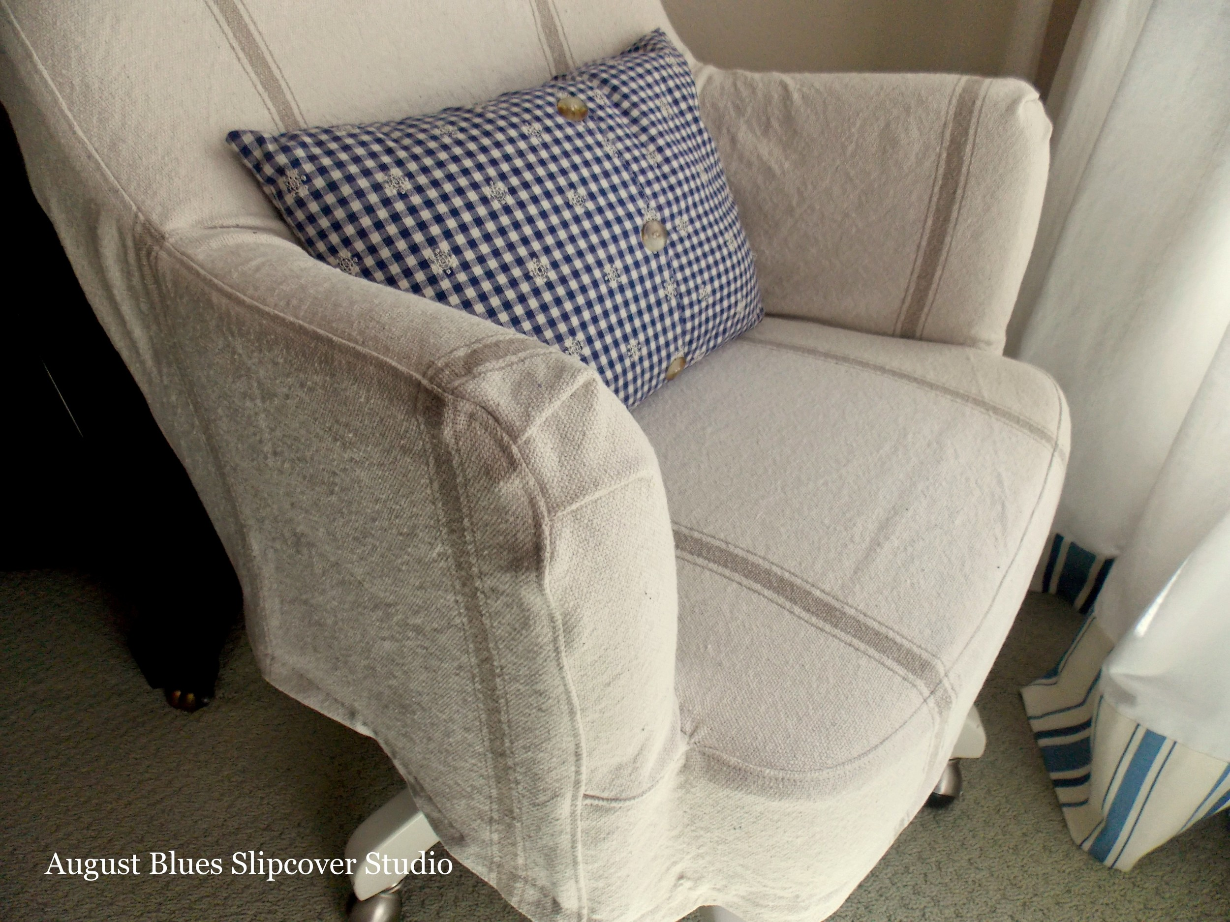 Grain Sack Desk Chair Slipcover — August Blues