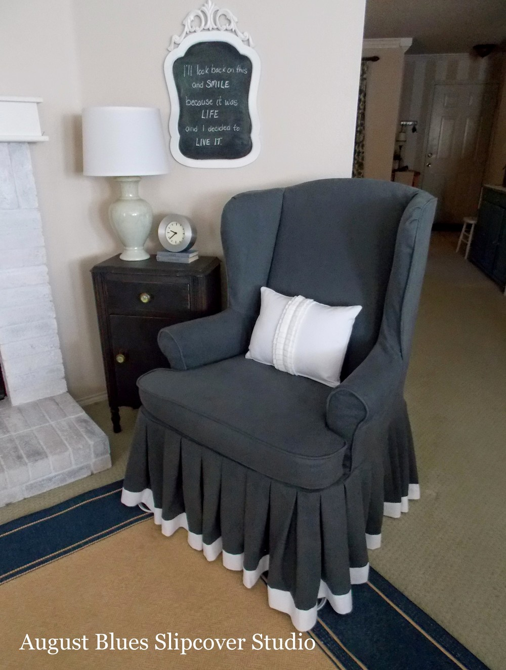 August Blues - Wing Chair Slipcover