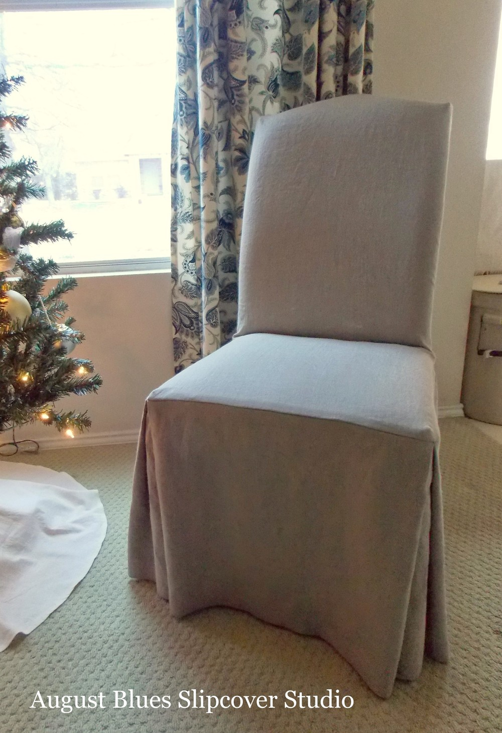 August Blues   Parsons Chair Slipcover
