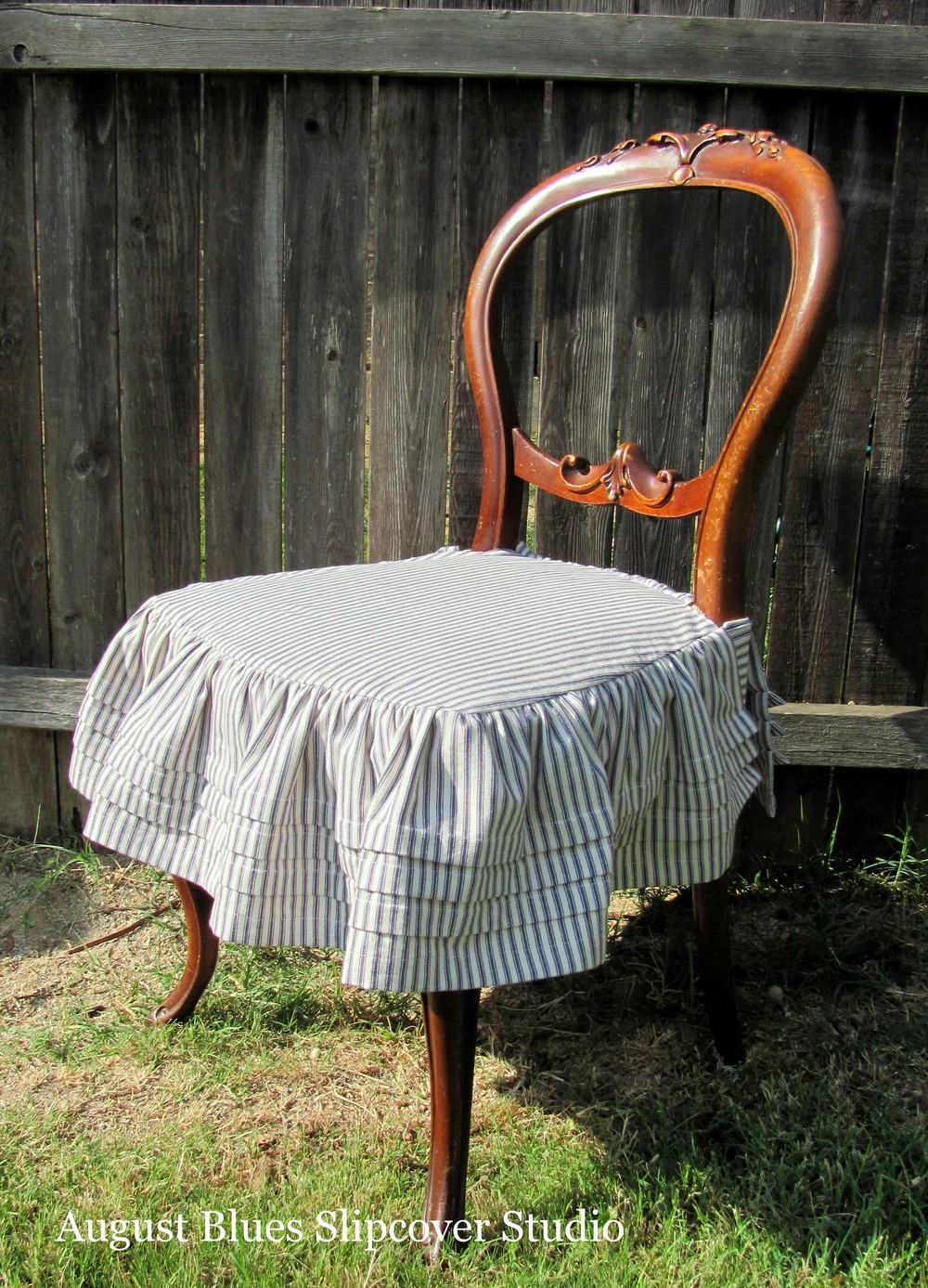 August Blues - Antique Chair with Ticking Skirt