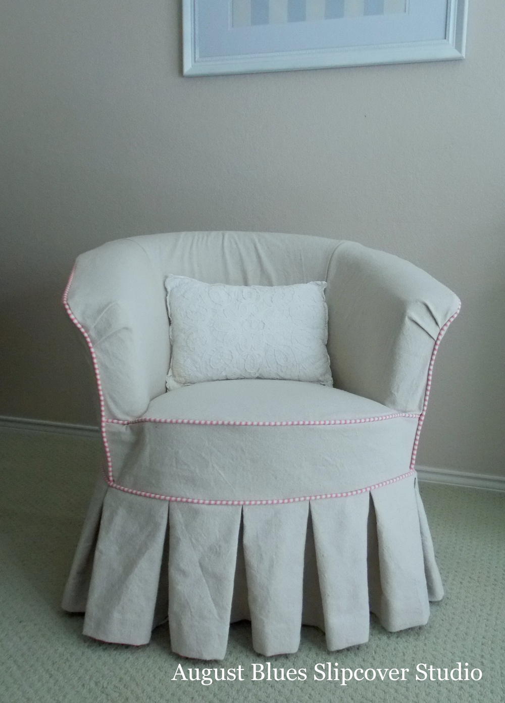 August Blues - Dropcloth with pink ticking trim
