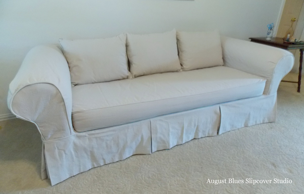 August Blues - Dropcloth slipcover after