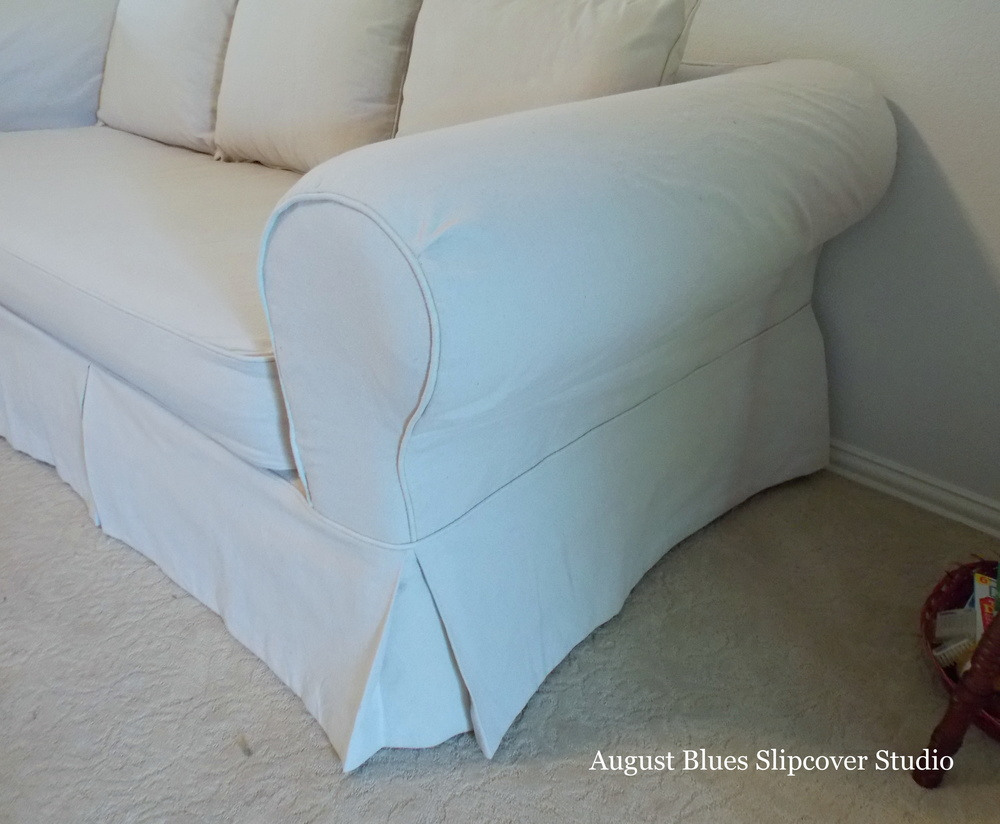 August Blues - dropcloth slipcover arm after