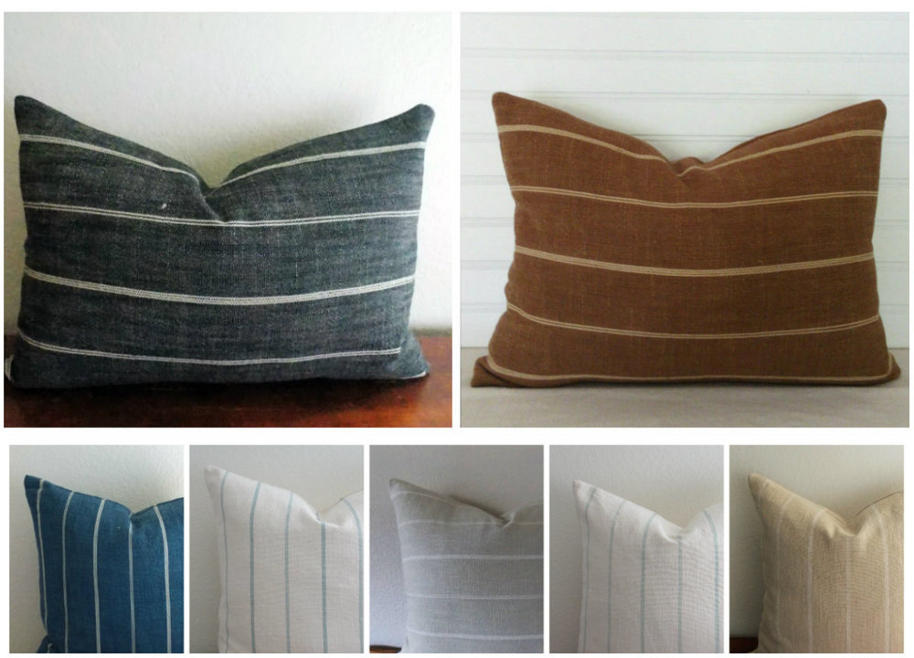 """Fritz - A soft, but sturdy cotton/linen blend with pinstripes. Constructed with an invisible zipper. Wash and dry medium.18"""" x 18"""" - $39 and 14"""" x 20"""" - $36Colors: charcoal with ivory stripe, caramel with ivory stripe, indigo with ivory stripe, ivory with spa blue stripe, dove (taupe) with ivory stripe, ivory with sea green stripe, wheat with ivory stripe"""