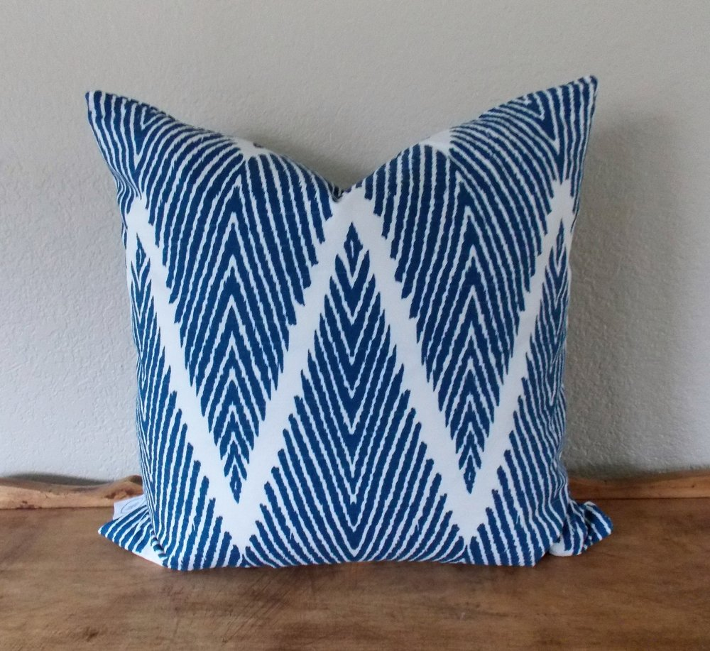 """Chevron - Bold chevron pattern on sturdy cotton. Constructed with an invisible zipper. Wash and dry medium.18"""" x 18"""" - $43Colors: royal blue/white"""