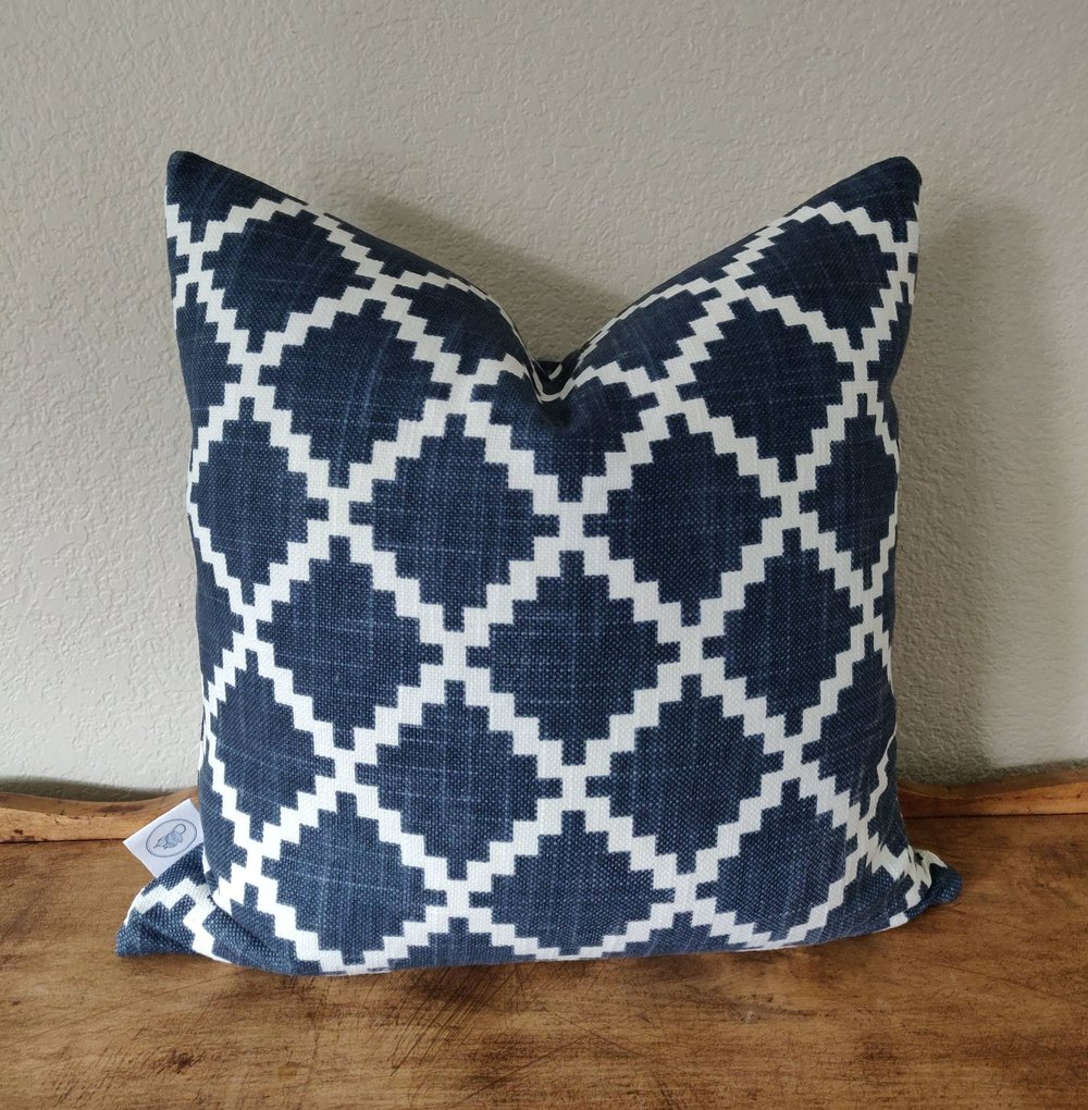 """Gaston - Eye-catching slightly distressed pattern on a heavy textured cotton. Constructed with an invisible zipper. Wash and dry medium.18"""" x 18"""" - $40Colors: navy/white"""