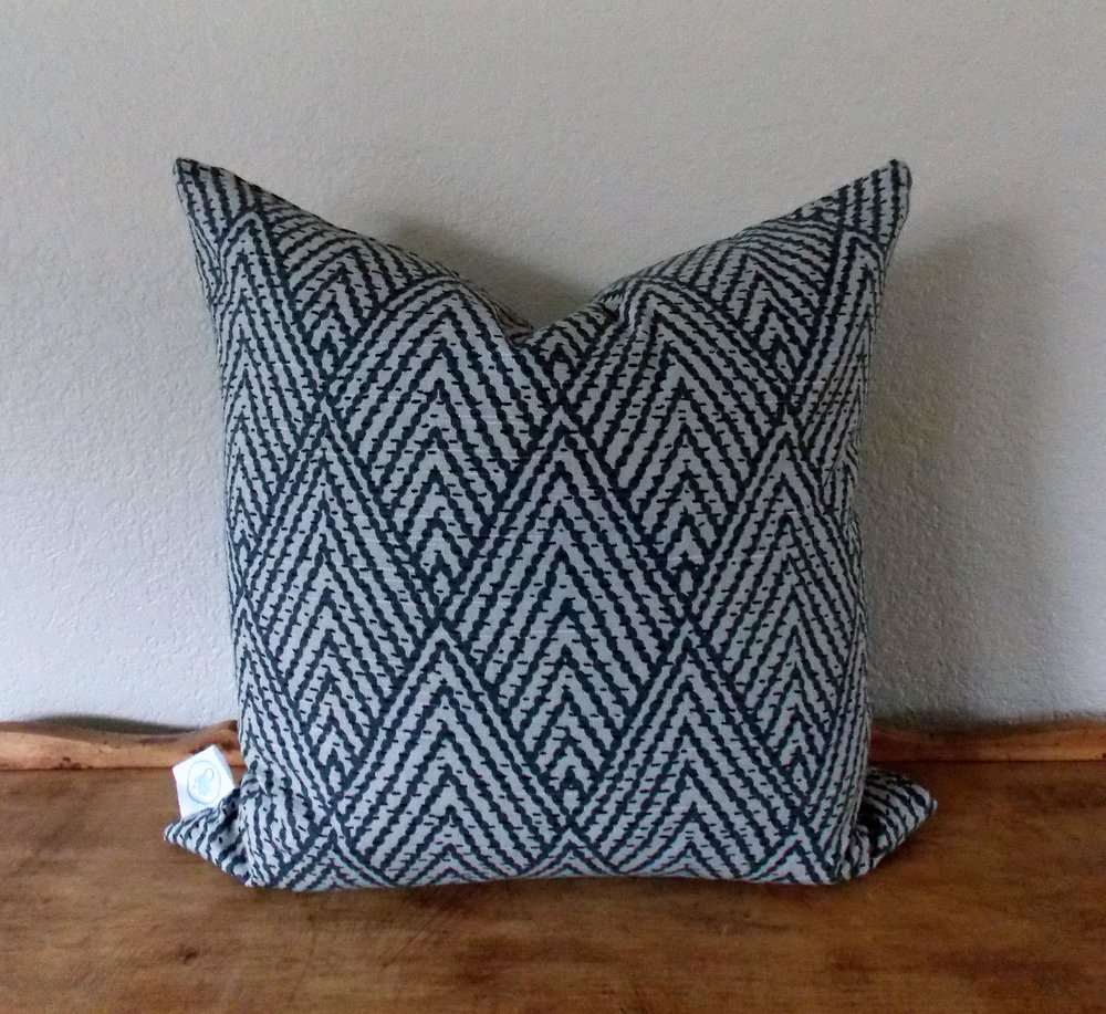"""Tahitian - Striking variation on a chevron pattern, on cotton. Constructed with an invisible zipper. Wash and dry medium.18"""" x 18"""" - $33Colors: charcoal/mink"""