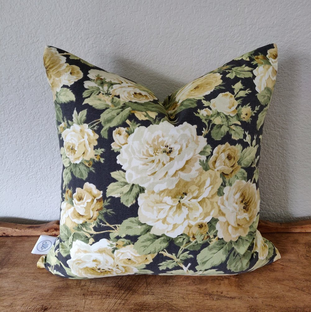 """Vineland - Vintage floral print on a charcoal background, on cotton. Constructed with an invisible zipper. Wash and dry medium.18"""" x 18"""" - $32.00 and 14"""" x 20"""" - $30.00Colors: vintage golds and greens on charcoal"""