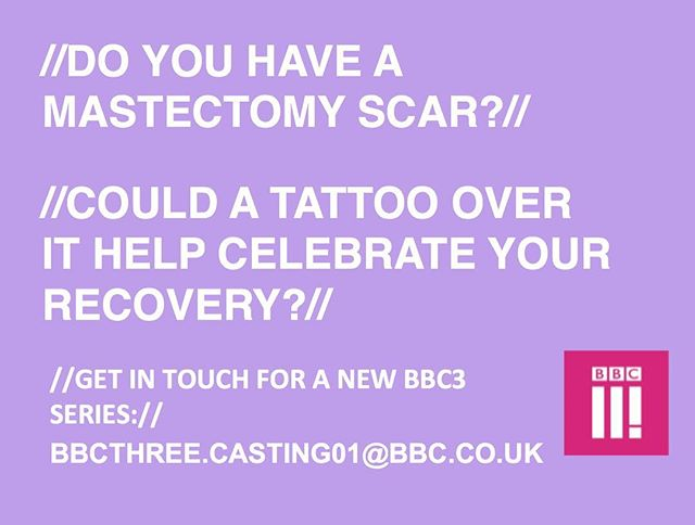 A fantastic opportunity👌🏼 for someone considering a mastectomy tattoo. Contact @bbcthree now! Filming starts next week📽! #mastectomy #mastectomybra #mastectomytattoo #livingwithcancer #breastcancercampaign #breastcancer #breastcancerawareness #bbc3 #bbc #tattoo #inkedgirls #gogirl #SurvivorStories #breastcancersurvivor #tattoo
