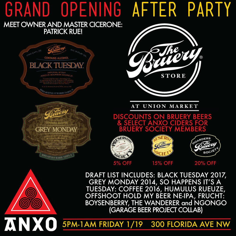Our good West Coast friends, The Bruery just opened their first East Coast location here in DC!  To celebrate the grand opening of their shop in Union Market we are hosting an after party with several rare Bruery drafts!  If you are a member of one of The Bruery's membership societies we will honor your discounts at ANXO on all Bruery beers as well as select ANXO Ciders.