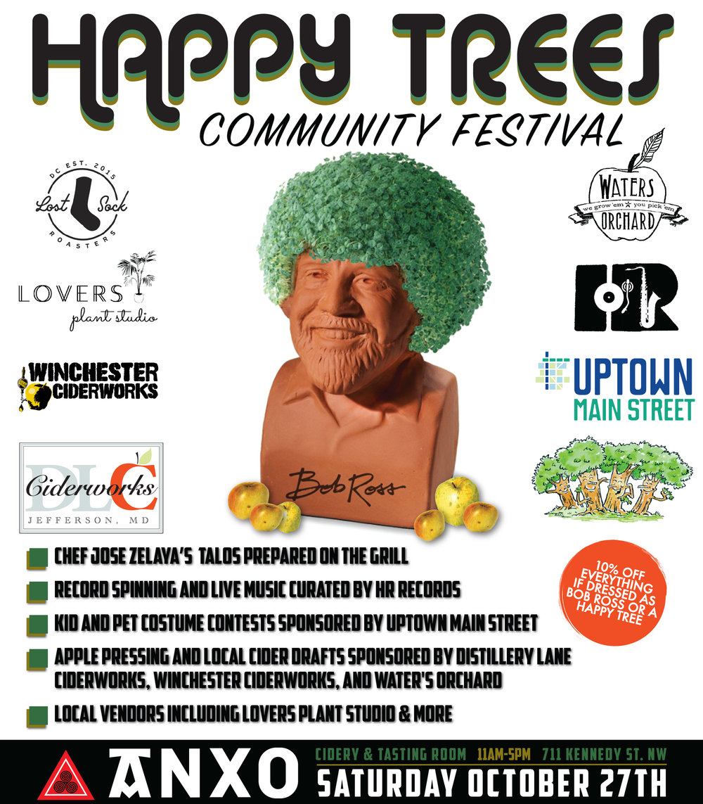 Join us Saturday, October 27th for the 2nd annual Happy Trees Community Festival. This year we have lots of great activities setup. Costume contests sponsored by Uptown Main Street, record spinning and live music curated by HR Records, Live apple pressing & cider from our friends at Distillery Lane Ciderworks, Winchester Ciderworks, and Waters Orchard. Local vendors including Lovers Plant Studio and ANXO Chef Jose Zelaya's famous talos (think Basque-inspired tacos) made on-site.