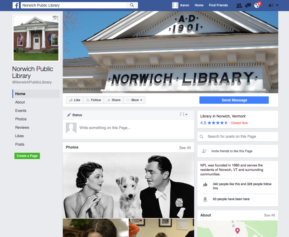 Norwich Public Library (2014–2015)    Norwich, VT   Social media Email newsletter Website content management