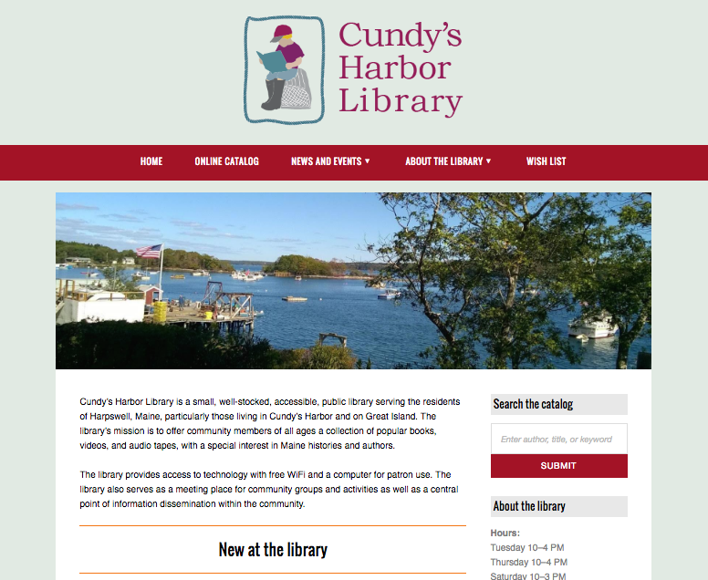 Cundy's Harbor Library   Harpswell, ME   Website design Social media setup WordPress development