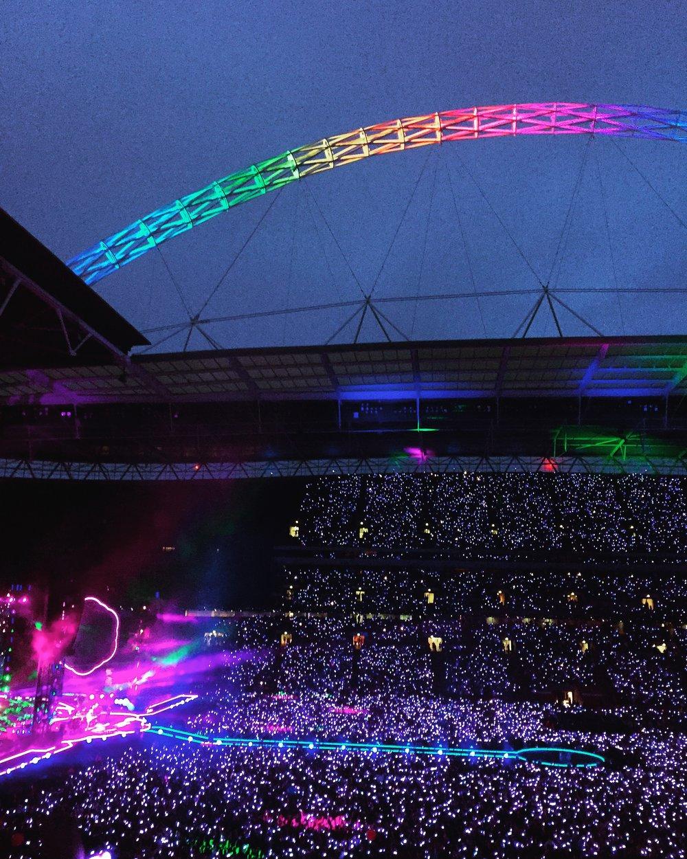 Coldplay at Wembley Stadium, 2016.