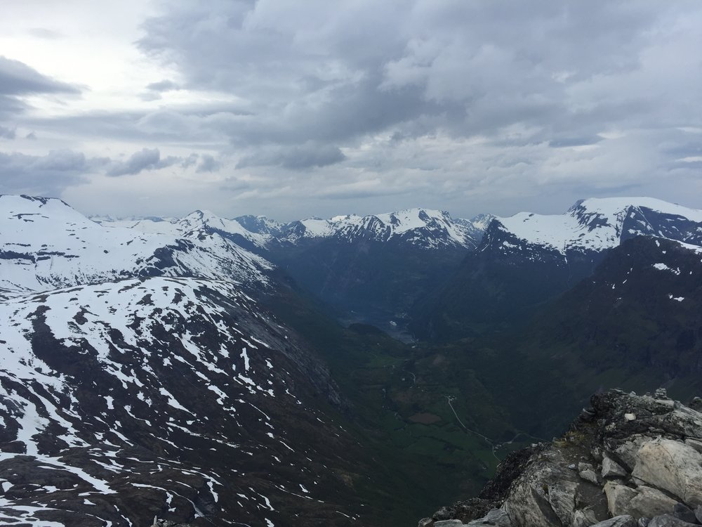 View of Geirangerfjord from Dalsnibba peak, Norway.