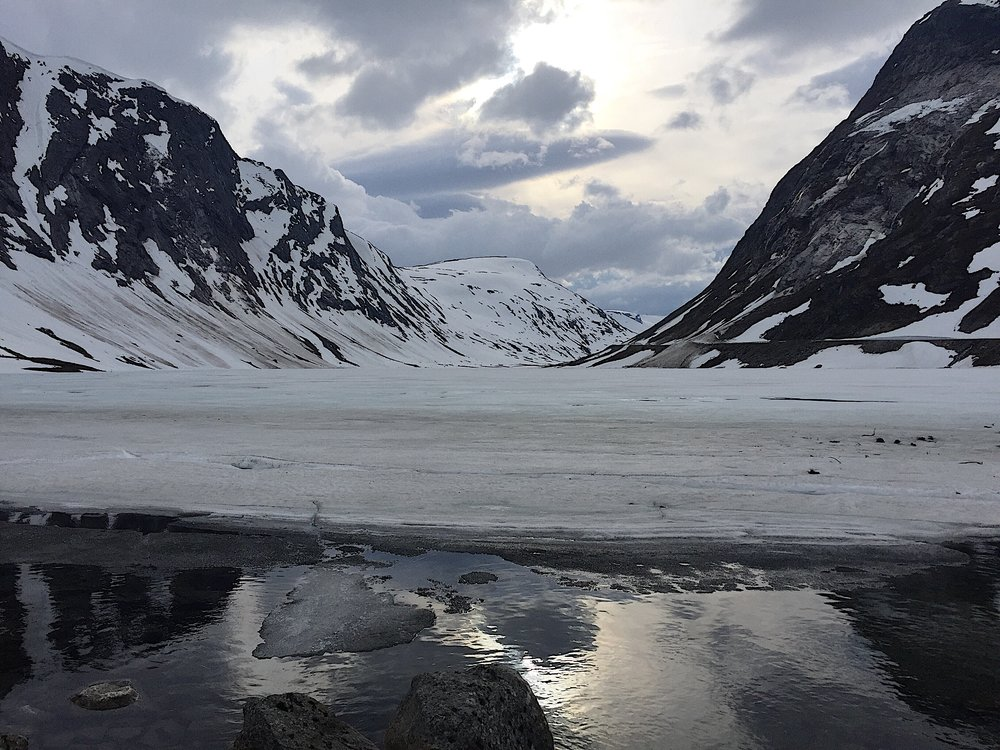 Frozen lake on drive from Geiranger to Stryn, Norway.