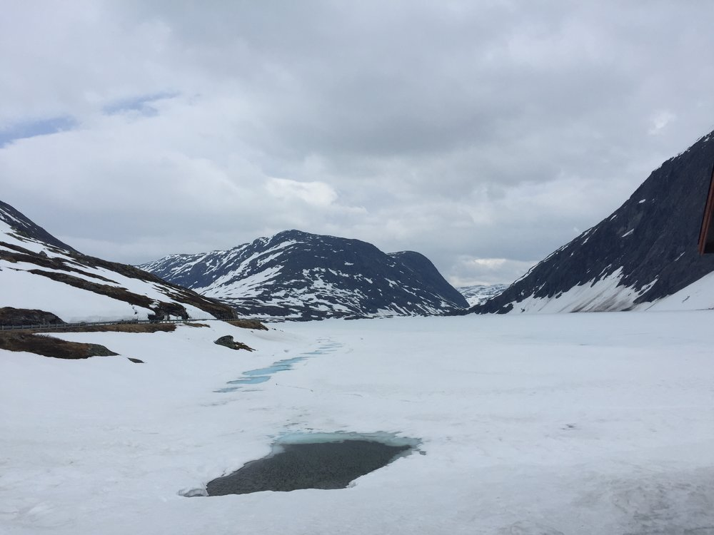 Frozen lake on drive from Geiranger to Dalsnibba peak, Norway.