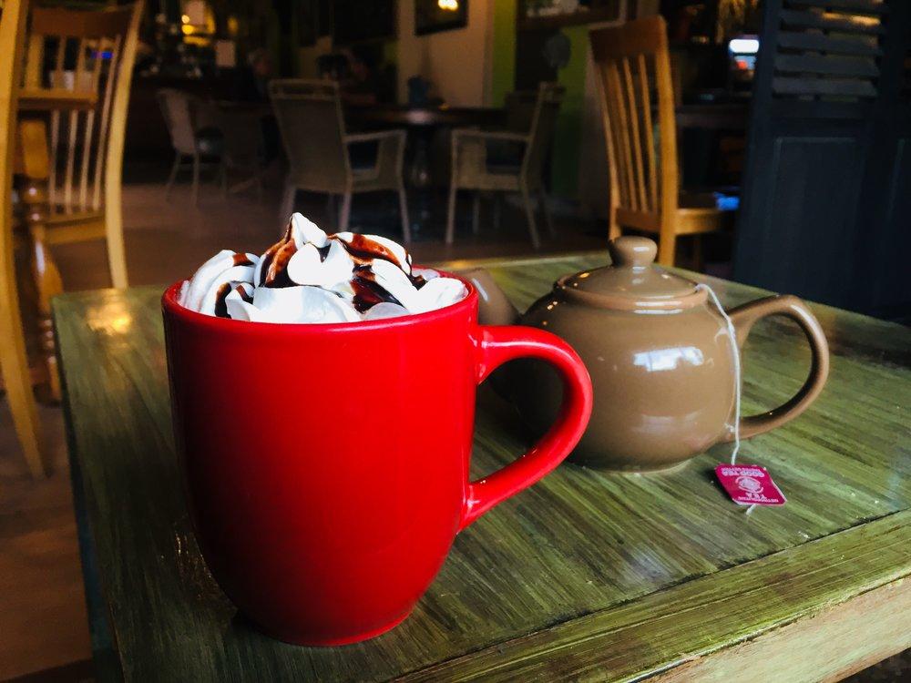 Hot chocolate & tea at The Gathering Tree in Valemount, BC.