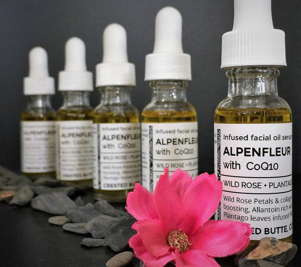 - WILD ROSE PETALS + PLANTAGO LEAF INFUSED FACIAL OIL BLEND with COQ10, Frankensence, Helicrysum,Neroli