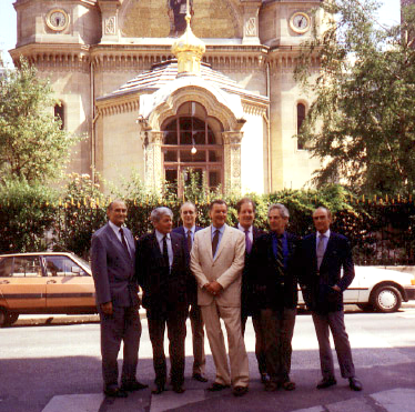 Members of the Romanoff Family Association gather in Paris in 1992 . From left to right, Dimitri Romanovich (+ d. 2016), Michael Feodorovich (+ d. 2008)  Alexander Nikitich (+ d. 2002) Nicholas Romanovich (+ d. 2014), Rostislav Rostislavovich (+d. 1999), Andrew Andreievich, and Nikita Nikitich (+ d. 2007).