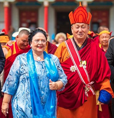 The Grand Duchess visiting Ulan-Ude, Buryatia, at the side of the Khambo Lama, leader of the Buddhist community in Russia, whom she presented with the Order of St. Stanislas, 1st Class.
