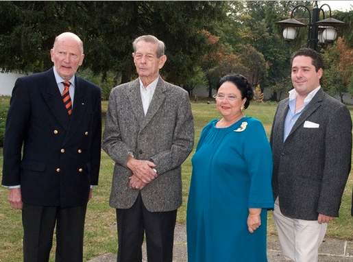 King Simeon II of Bulgaria, King Michael of Romania, Grand Duchess Maria Wladimirovna of Russia, and her son, Grand Duke George of Russia in 2013.