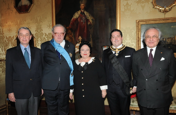 From left to right: Alexander Avdeev, the Russian ambassador to the Vatican and the Order of Malta; Prince and Grand Master of the Order of Malta, Fra' Matthew Festing; the Head of the House of Romanoff, the Grand Duchess Maria of Russia; the Grand Duke George of Russia; the Grand Chancellor of the Order of Malta, Jean-Pierre Mazery
