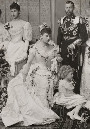 Grand Duchess Maria's grandmother, Princess Victoria Melita of Great Britain (left), as a bridesmaid at wedding of her first cousin, the future King George V.