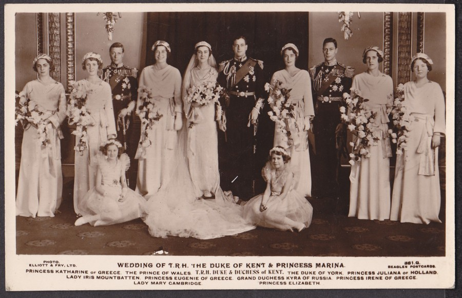 Grand Duke Wladimir's sister Kira as a bridesmaid at the wedding of their first cousin Princess Marina of Greece to their second cousin, George, Duke of Kent.  Grand Duchess Kira stands behind the future Queen Elizabeth II and between the Duke of Kent and the future King George VI.