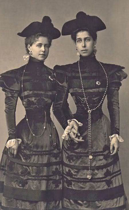 The sisters, Princess Marie and Victoria Melita of Edinburgh, later Queen of Romania and Russian Empress in Exile.