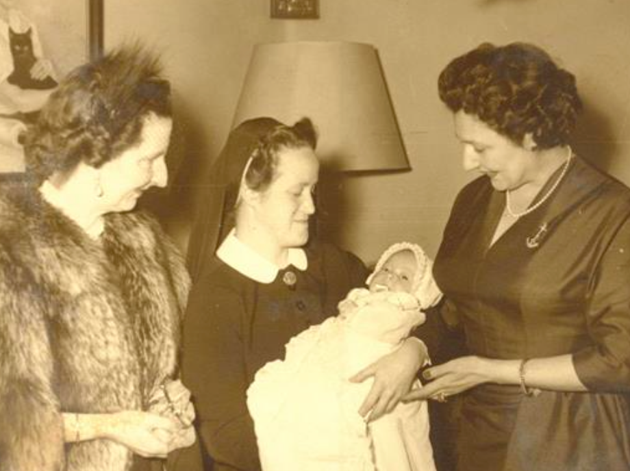 (L-R)  H.M. Queen Ioanna of Bulgaria, H.I.H. the infant Grand Duchess Maria Vladimirovna (in the arms of her nurse), and H.I.H. Grand Duchess Leonida Georgievna of Russia at her baptism in 1954.