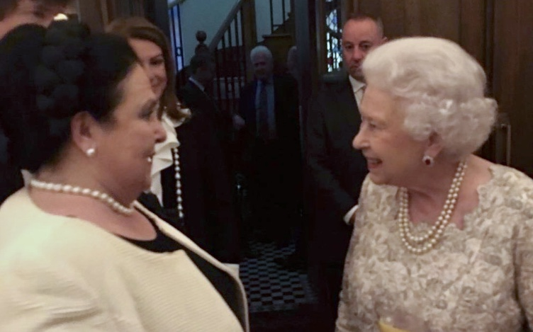 H.I.H. Grand Duchess Maria Vladimirovna of Russia and H.M. Queen Elizabeth II at the birthday of their cousin H.I.&R.H. Archduchess Helen of Austria in 2016.