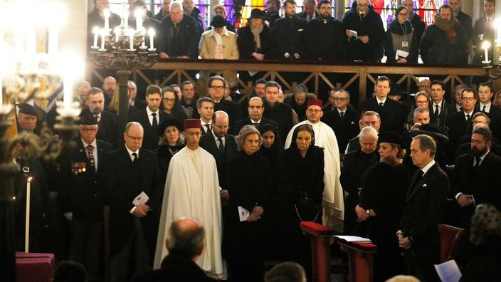 The Grand Duke is pictures at far right with the Royal House of France at the funeral of the Count of Paris.