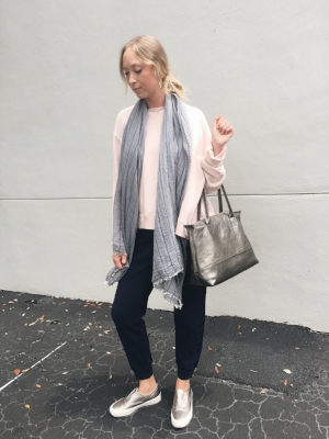 MM6 blush sweatshirt, Ulla Johnson navy embroidered sweatpants, BMAY metallic carry-all, Seavees metallic slip-on sneaker.  The best part of this outfit: shoes are easy to slide on and off, this handbag with fit all of your airport essentials!