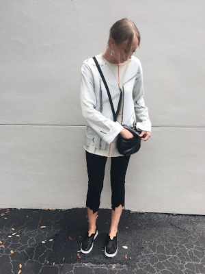 MM6 jacket print sweatshirt, Porto button cropped legging, Jack Gomme bag, Ilse Jacobson sneakers.  Best part about this outfit: The handbag is water resistant, and can be wiped clean... perfect for travel, and the sneakers feel like you're walking on clouds.