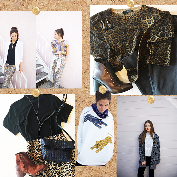 1.) Raquel Allegra: leopard print pants  2.) 360 cashmere: leopard print cashmere sweater 3.) Elliott Lauren: leopard print pencil skirt 4.) Raquel Allegra: big cat sweatshirt  5.) Elliott Lauren: animal print cardigan