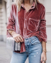 Velvet button down paired with denim