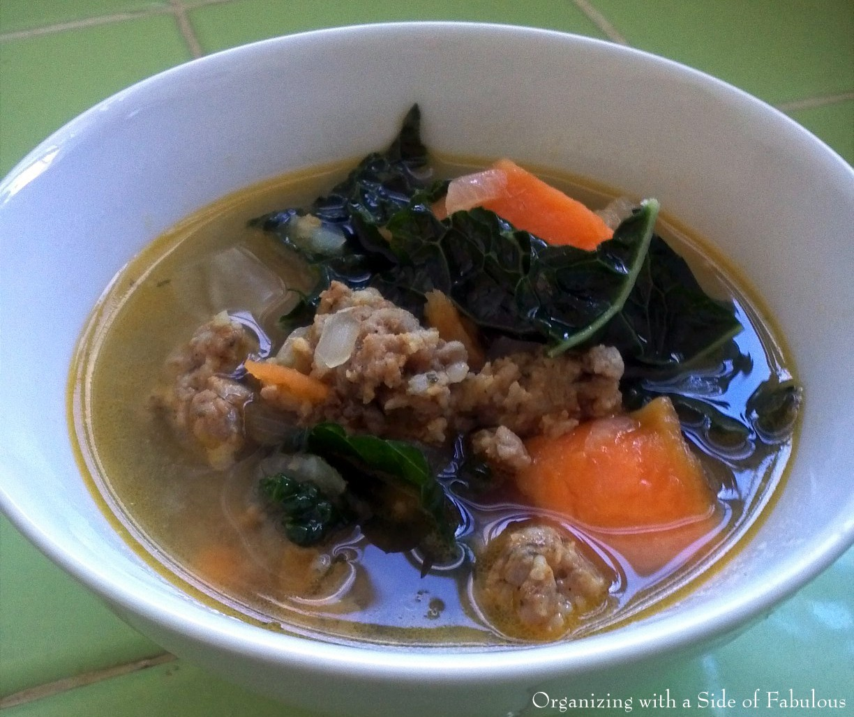 Sausage and Sweet Potato Soup with Kale