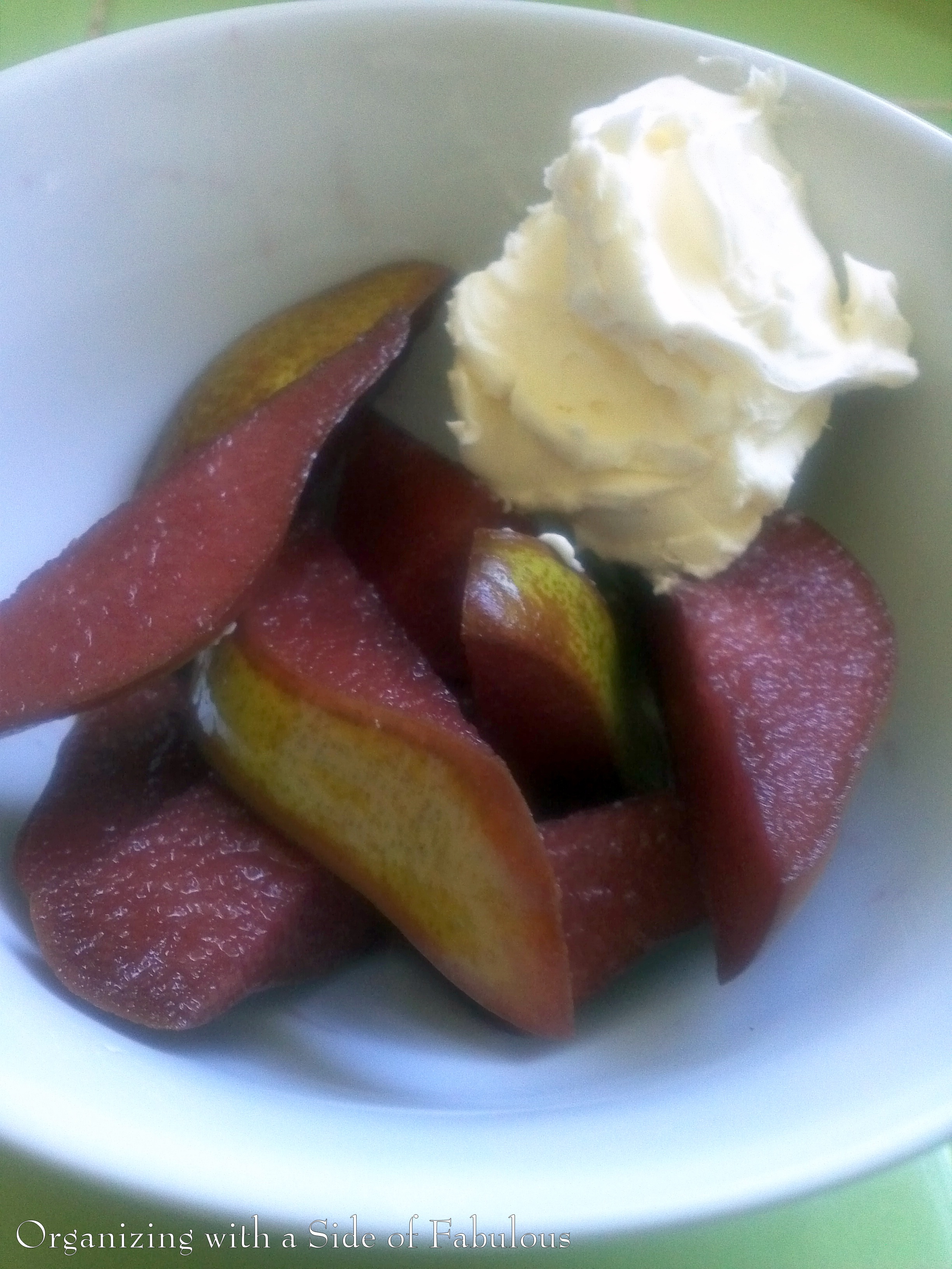 Red wine marinated pears with homemade whipped cream - Organizing with a Side of Fabulous