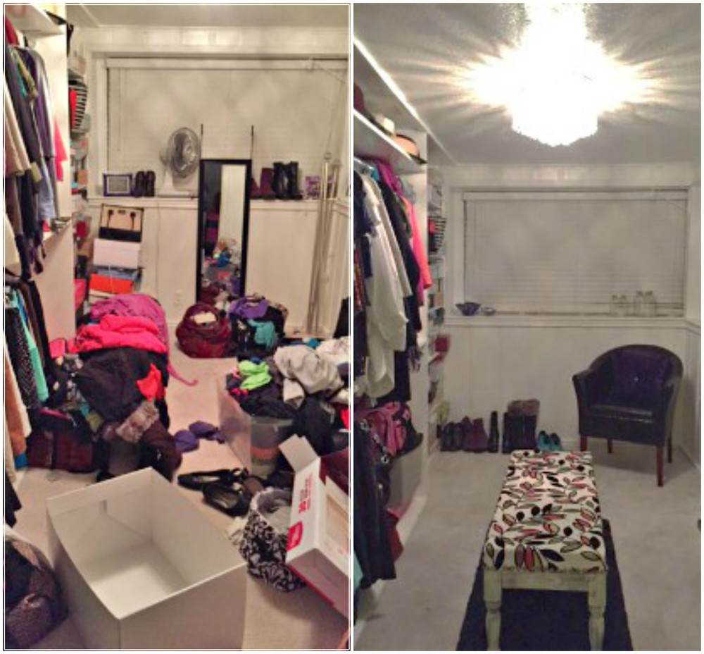 Closet makeover before and after