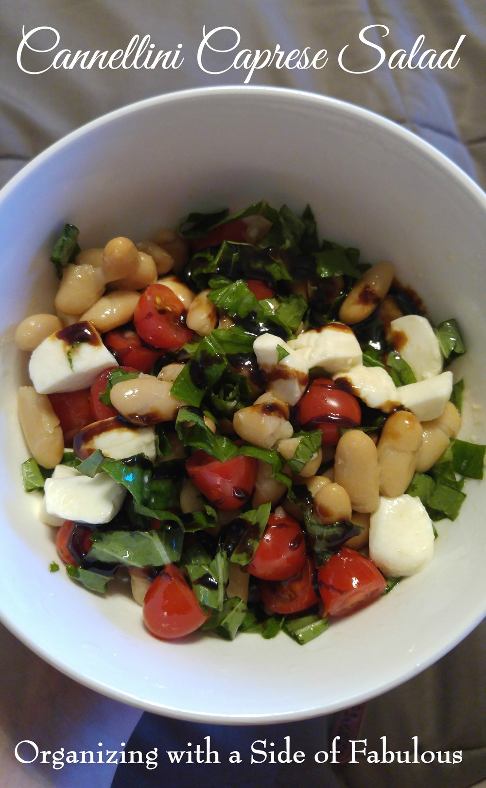 Cannellini Caprese Salad - Organizing with a Side of Fabulous