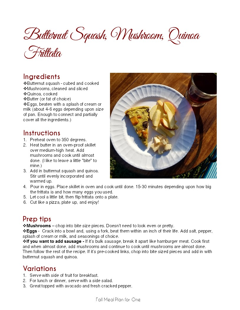 Fall Meal Plan for One -  A Side of Fabulous