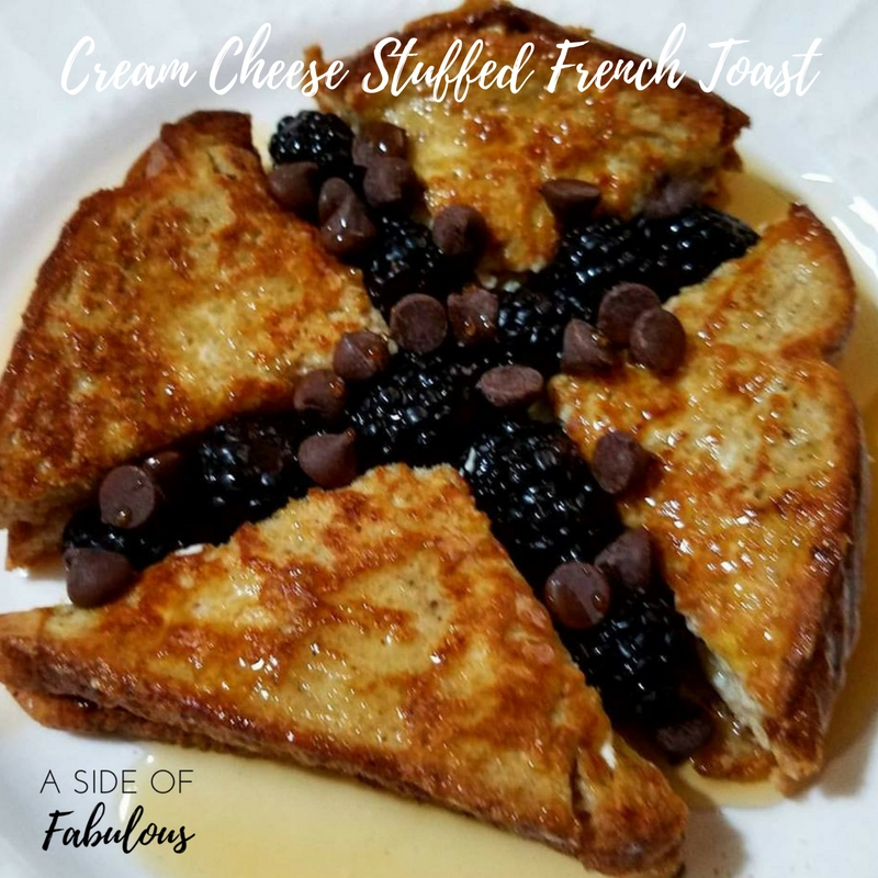 Cream Cheese Stuffed French Toast with Blackberries and Chocolate Chips - Make cream cheese (block is easiest to work with) sandwich and top with berries and chocolate chips. This tastes like cheesecake.