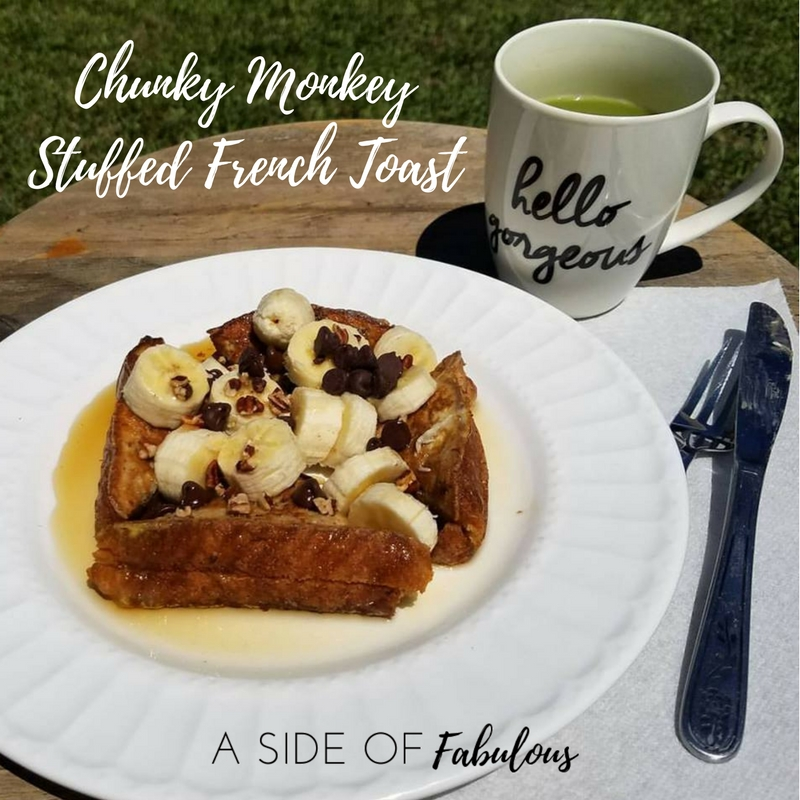 Chunky Monkey Stuffed French Toast - Stuff with peanut butter and top with banana, chocolate chips, and walnuts.